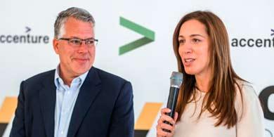 Vidal visitó las futuras oficinas de Accenture en Mar del Plata