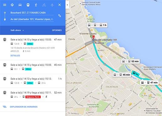 Google Maps suma colectivos y trenes de Buenos Aires