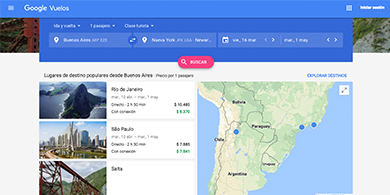 Google Flights llegó a Argentina, Chile, Colombia y Perú