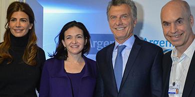 Macri se reunió con Sheryl Sandberg, COO de Facebook