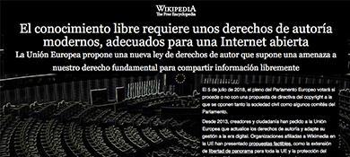 Wikipedia cierra como protesta contra la nueva política digital europea